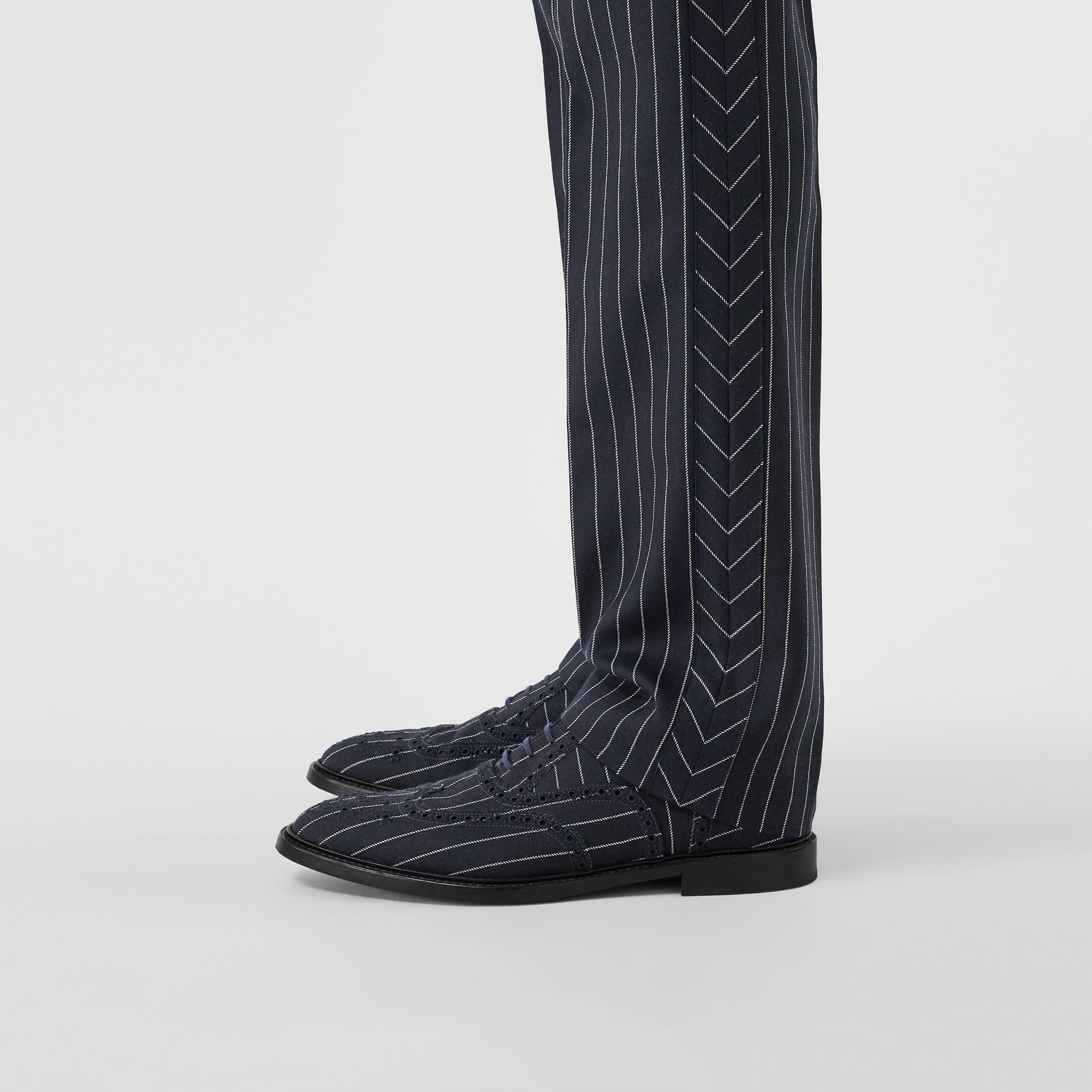 Pinstriped Wool Brogues in Dark Navy | Burberry Singapore - gallery image 2
