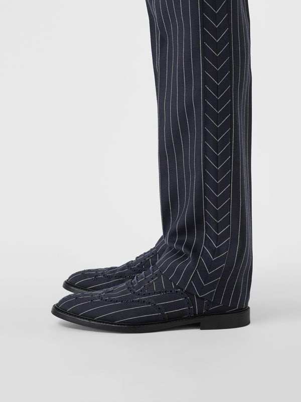 Pinstriped Wool Brogues in Dark Navy | Burberry - cell image 2