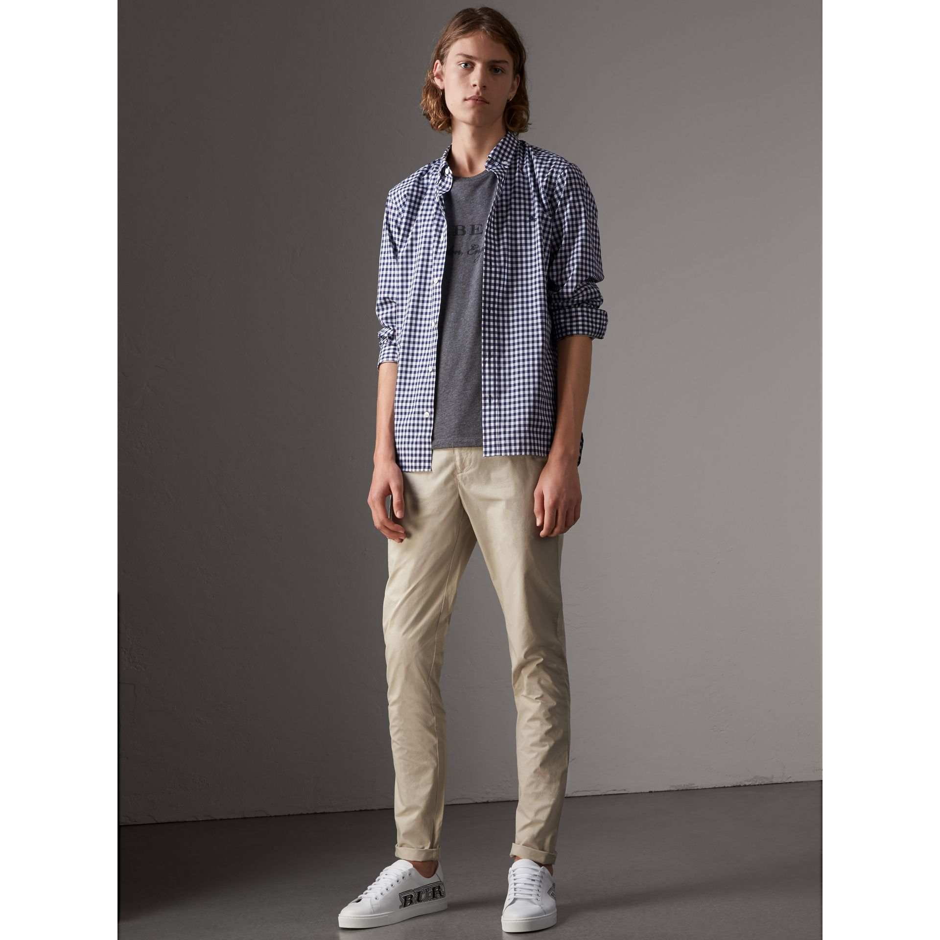 Slim Fit Cotton Poplin Chinos in Stone - Men | Burberry - gallery image 0
