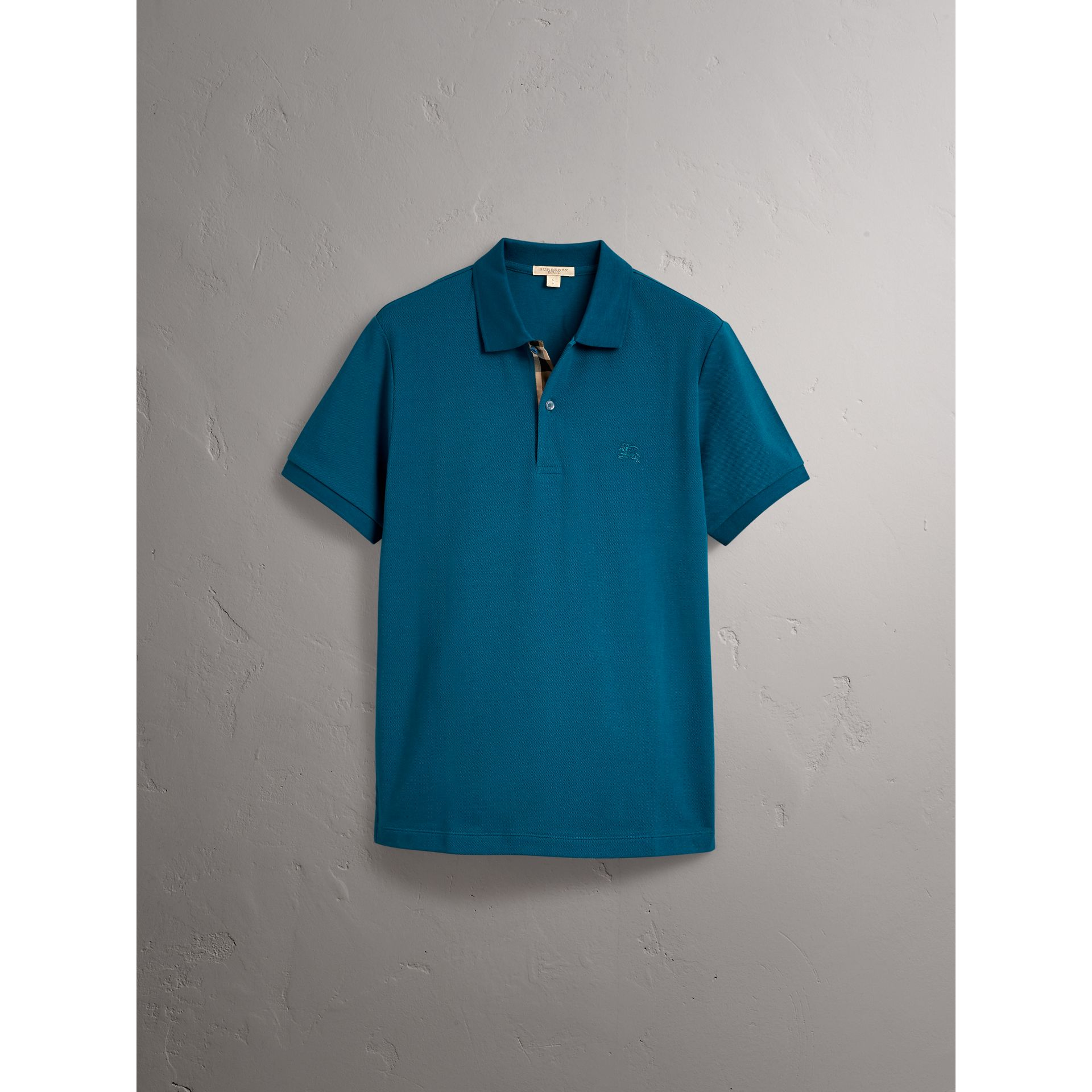 Check Placket Cotton Piqué Polo Shirt in Mineral Blue - Men | Burberry United Kingdom - gallery image 3