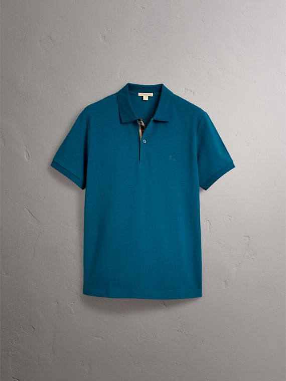 Check Placket Cotton Piqué Polo Shirt in Mineral Blue - Men | Burberry United Kingdom - cell image 3