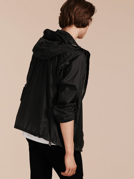 Black Ultra-lightweight Jacket with Hood - cell image 2