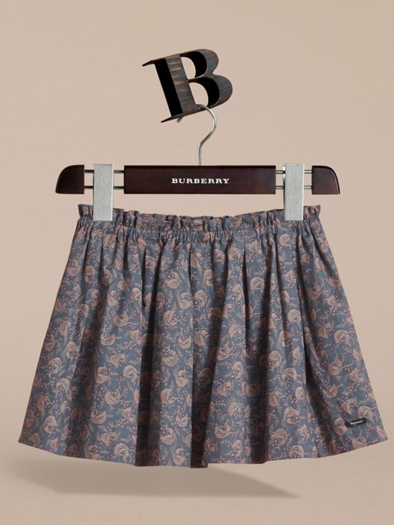 Leaf Pattern Cotton Skirt in Steel Blue | Burberry - cell image 2