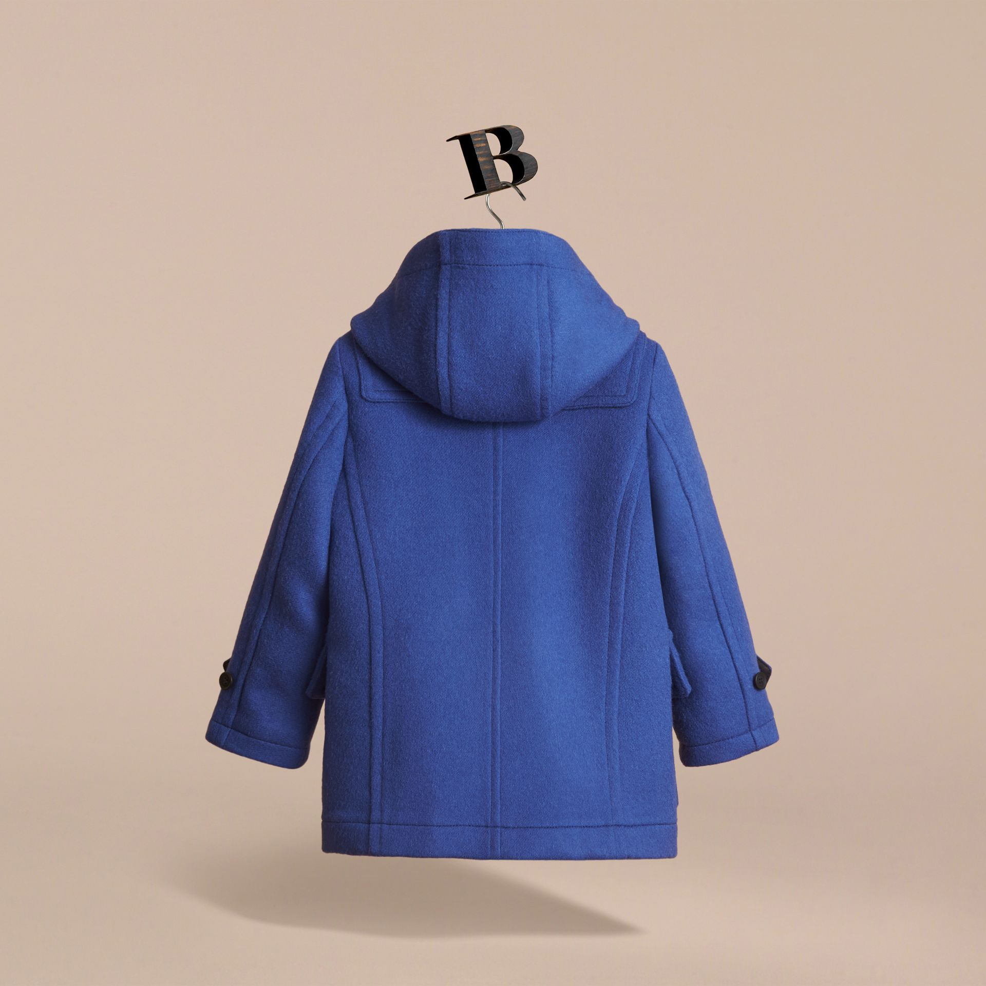 Hooded Wool Duffle Coat in Cobalt Blue - Boy | Burberry Canada - gallery image 4