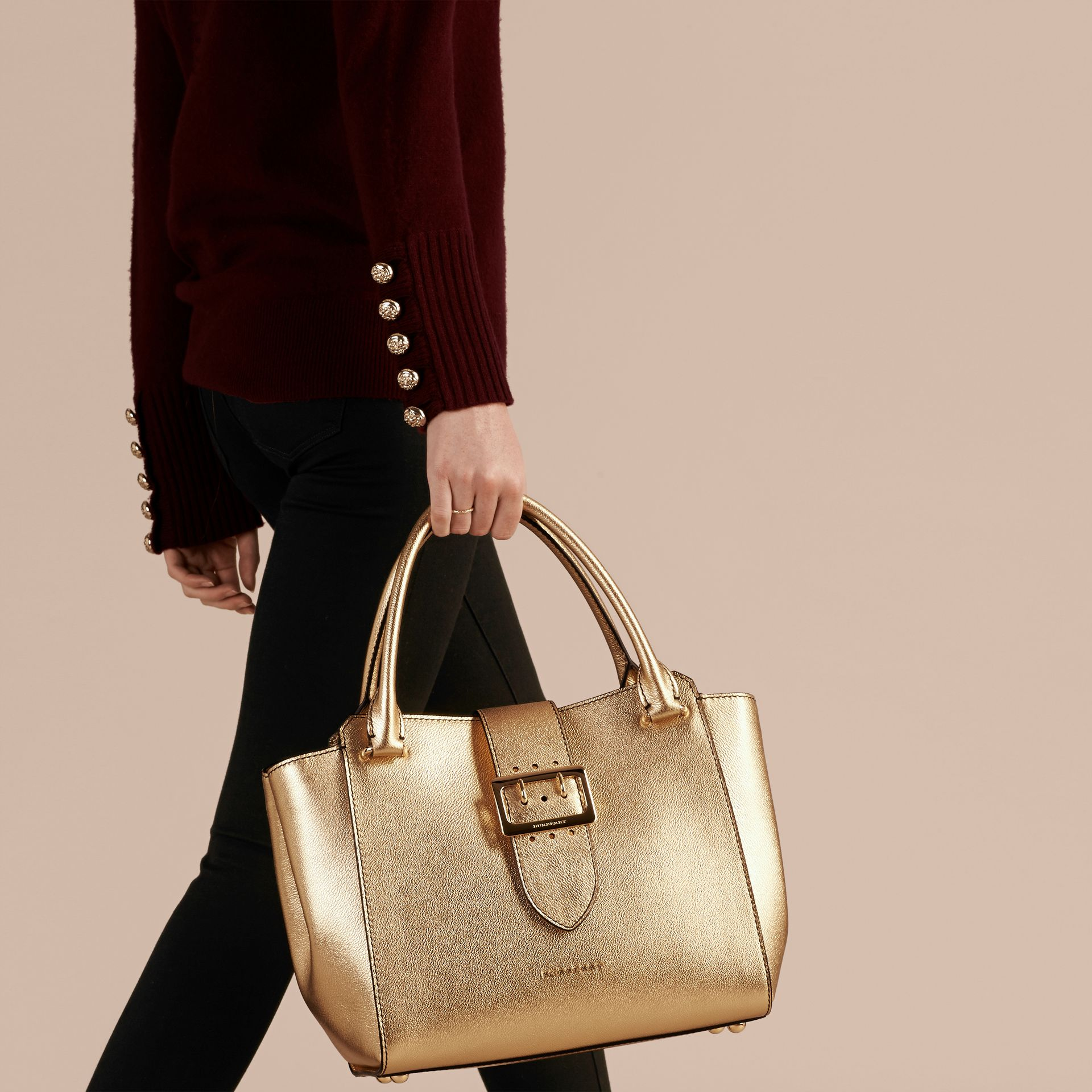 Gold The Medium Buckle Tote in Metallic Leather - gallery image 3