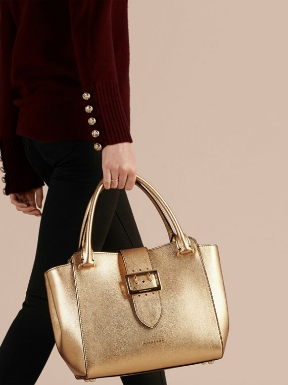 Gold The Medium Buckle Tote in Metallic Leather - cell image 2