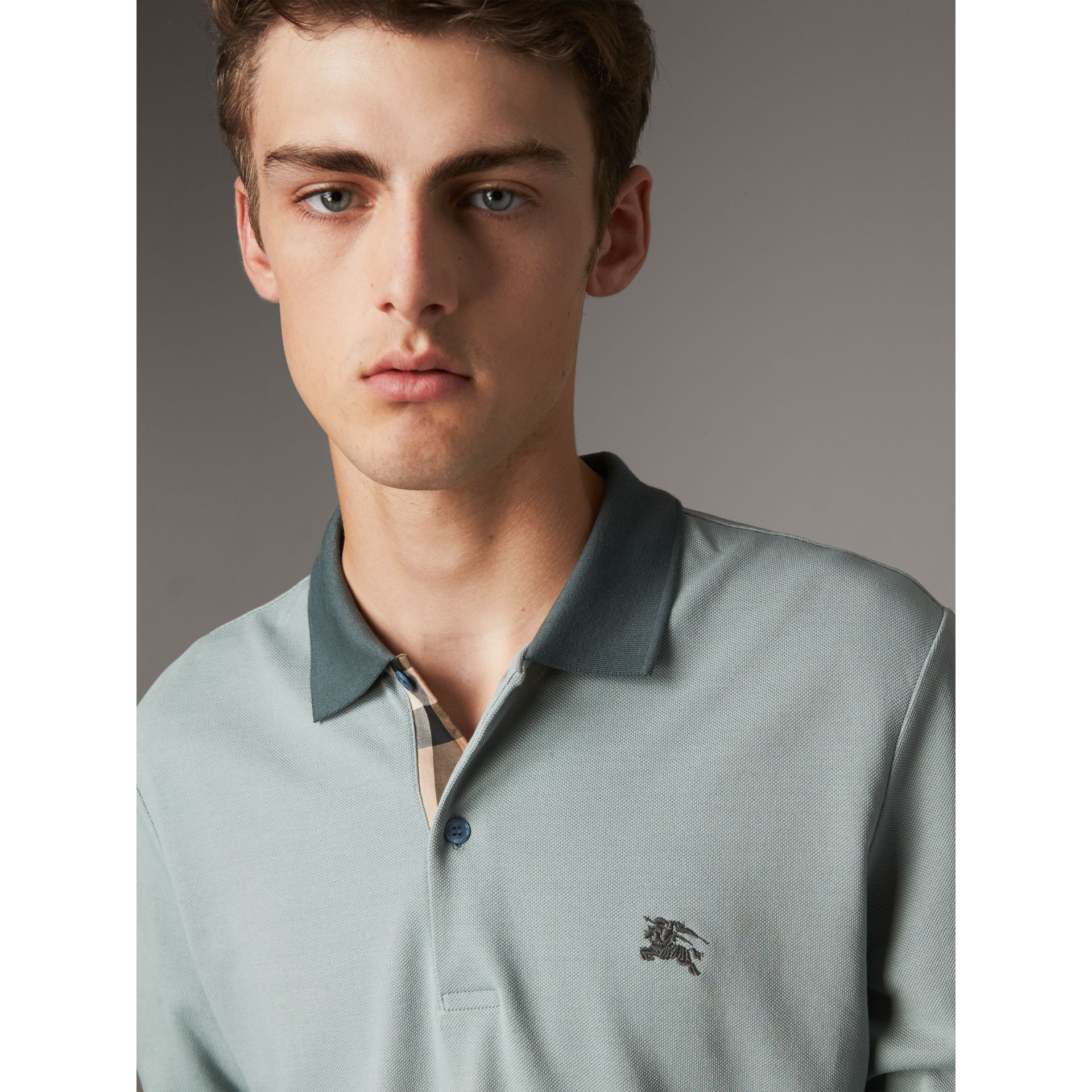 Long-sleeve Cotton Piqué Polo Shirt in Eucalyptus Green - Men | Burberry United Kingdom - gallery image 1