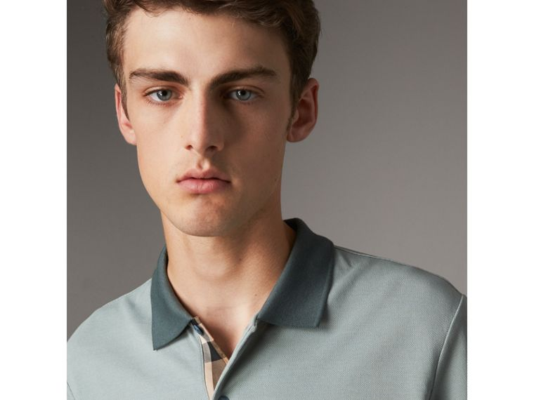 Long-sleeve Cotton Piqué Polo Shirt in Eucalyptus Green - Men | Burberry United Kingdom - cell image 1