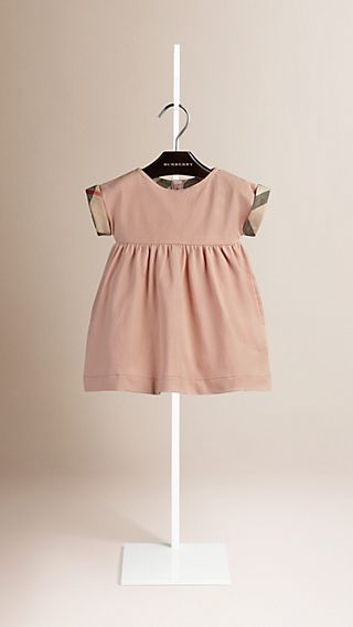 Check Cuff Stretch Cotton Dress