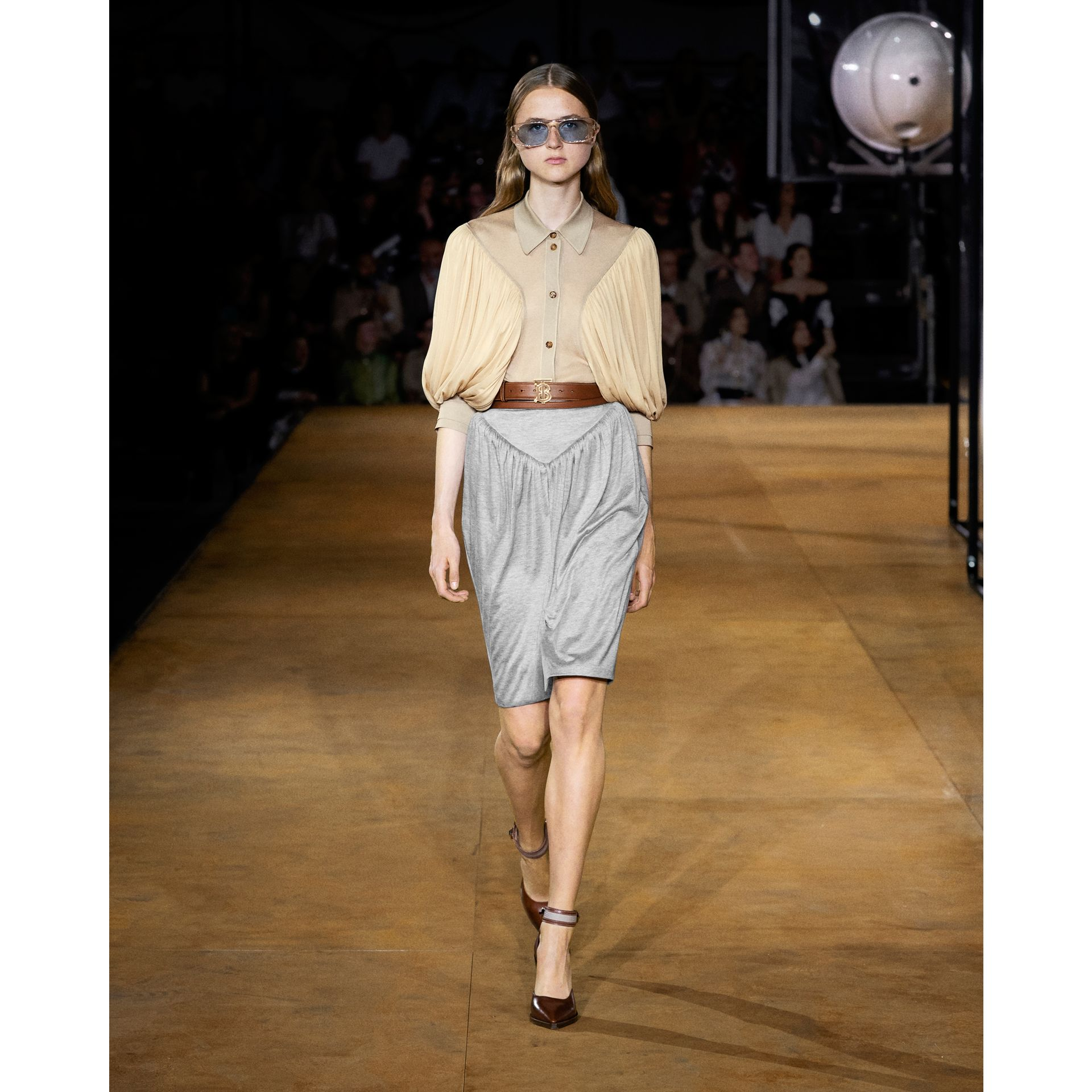 Gathered Jersey Sculptural Skirt in Pewter Melange - Women | Burberry United States - gallery image 5
