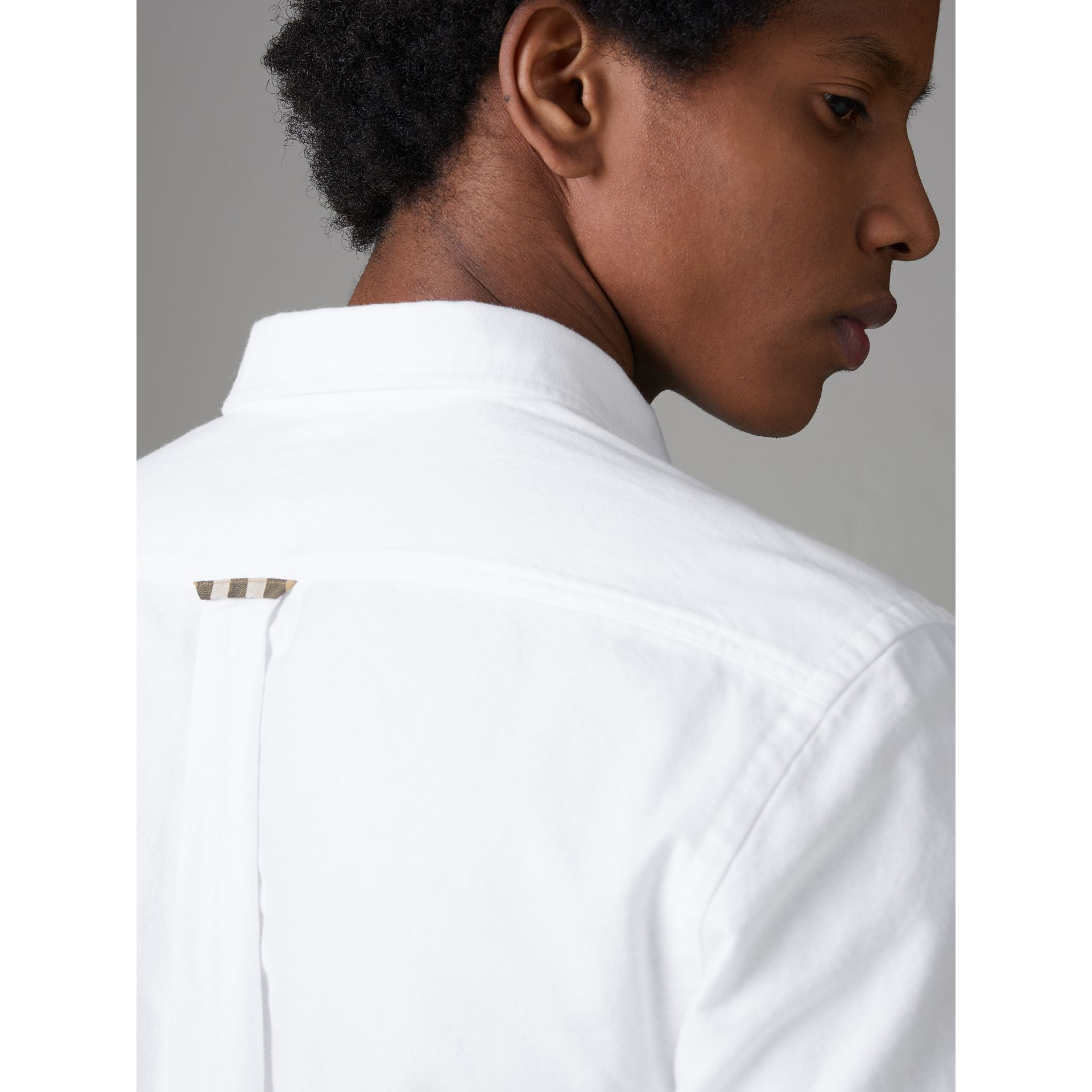 Check Detail Cotton Oxford Shirt in White - Men | Burberry United Kingdom - gallery image 4