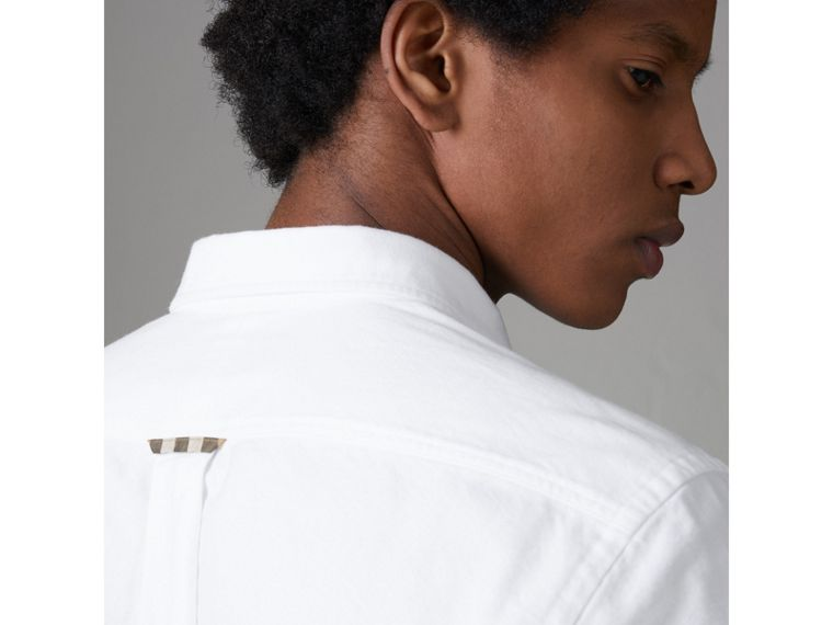 Check Detail Cotton Oxford Shirt in White - Men | Burberry United Kingdom - cell image 4