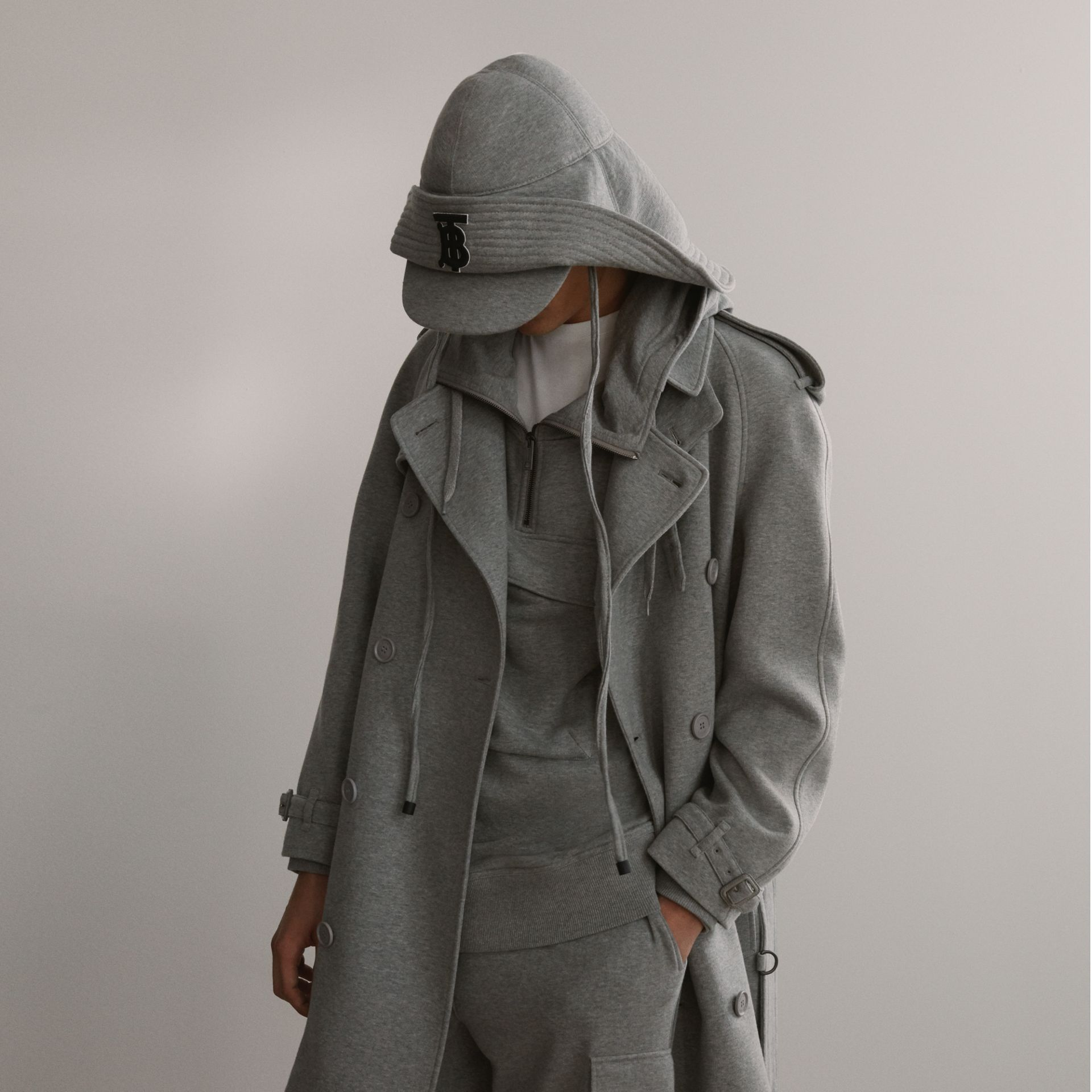 Cotton Jersey Trench Coat in Pale Grey Melange - Men | Burberry Australia - gallery image 1