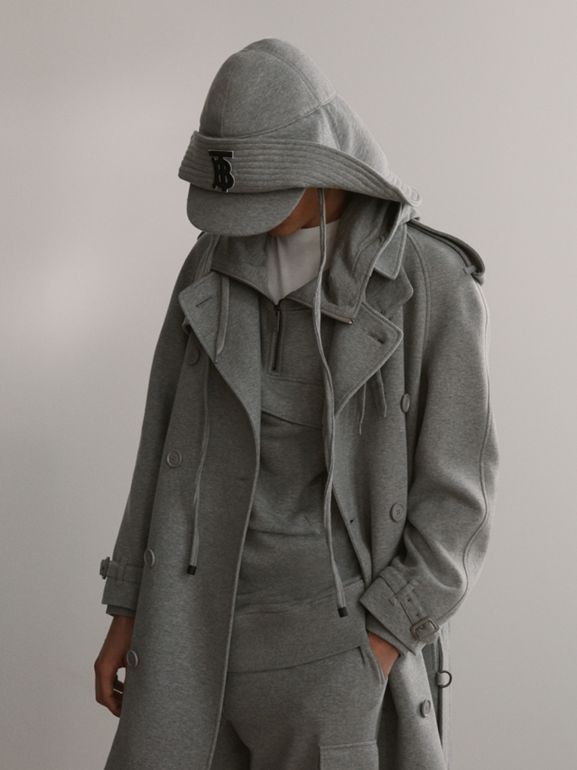 Cotton Jersey Trench Coat in Pale Grey Melange - Men | Burberry Australia - cell image 1