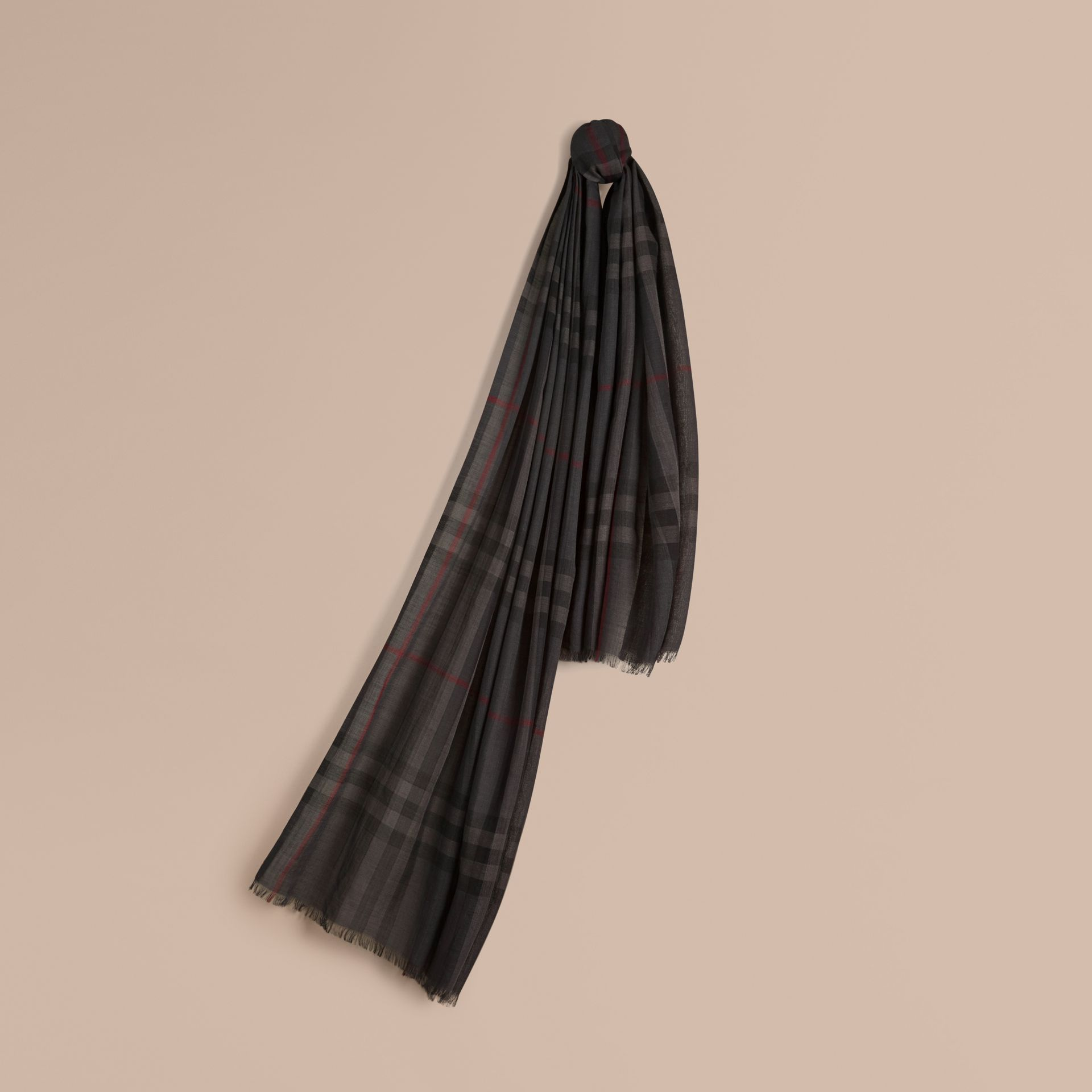 Charcoal Lightweight Check Wool and Silk Scarf Charcoal - gallery image 1