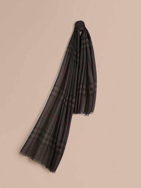 Lightweight Check Wool and Silk Scarf Charcoal