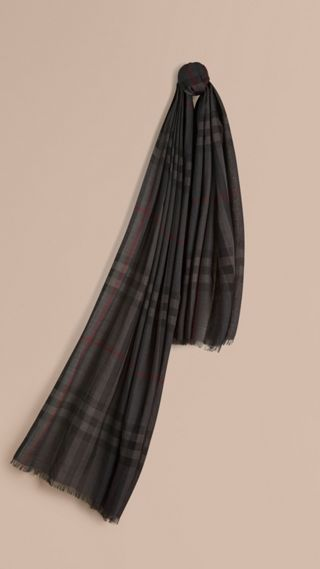 Lightweight Check Wool and Silk Scarf