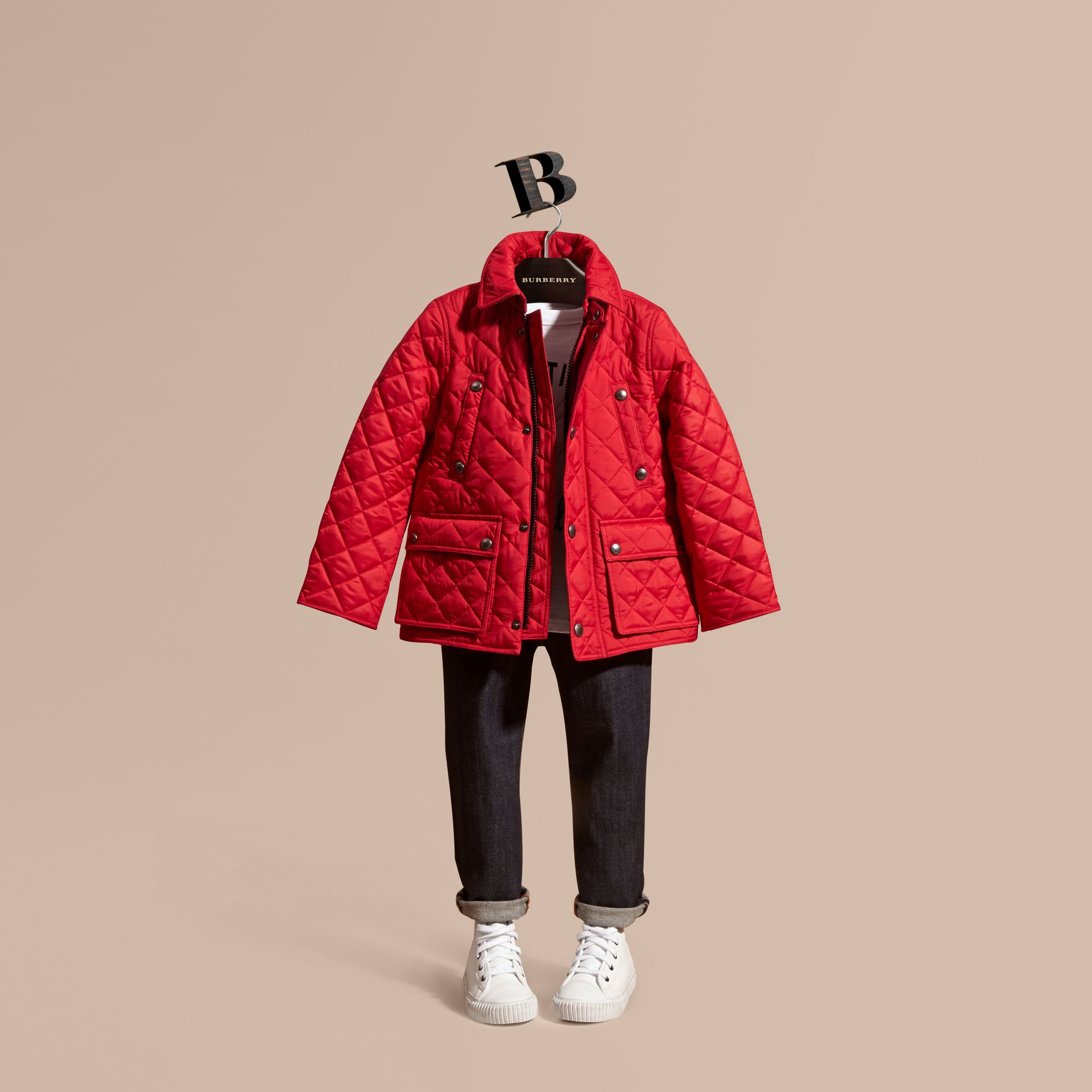 Detachable Hood Lightweight Quilted Jacket in Bright Cherry Red - Boy | Burberry - gallery image 1