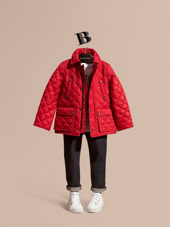 Detachable Hood Lightweight Quilted Jacket in Bright Cherry Red - Boy | Burberry Canada