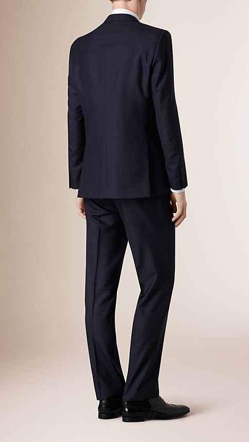 Navy Classic Fit Wool Part-canvas Suit - Image 2