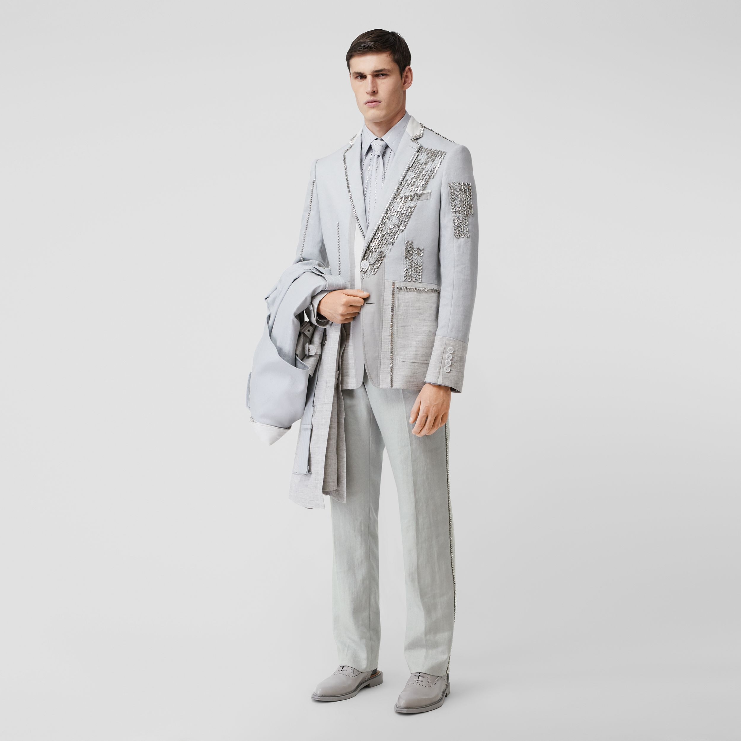 English Fit Crystal Embroidered Technical Linen Trousers in Light Pebble Grey - Men | Burberry - 1