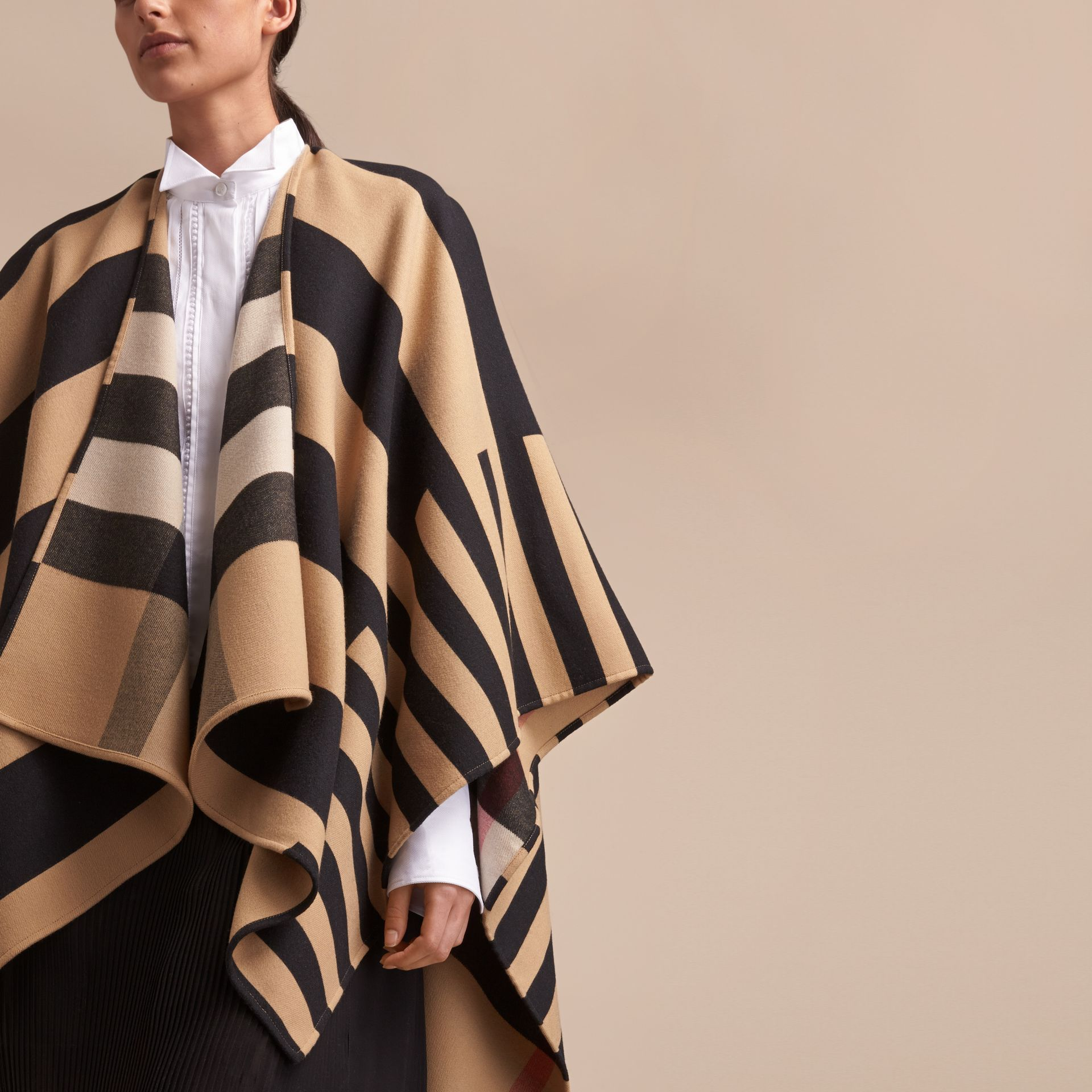 Reversible Stripe and Check Merino Wool Poncho in Camel - Women | Burberry - gallery image 5