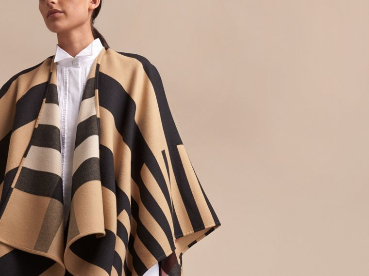 Reversible Stripe and Check Merino Wool Poncho in Camel - Women | Burberry - cell image 4