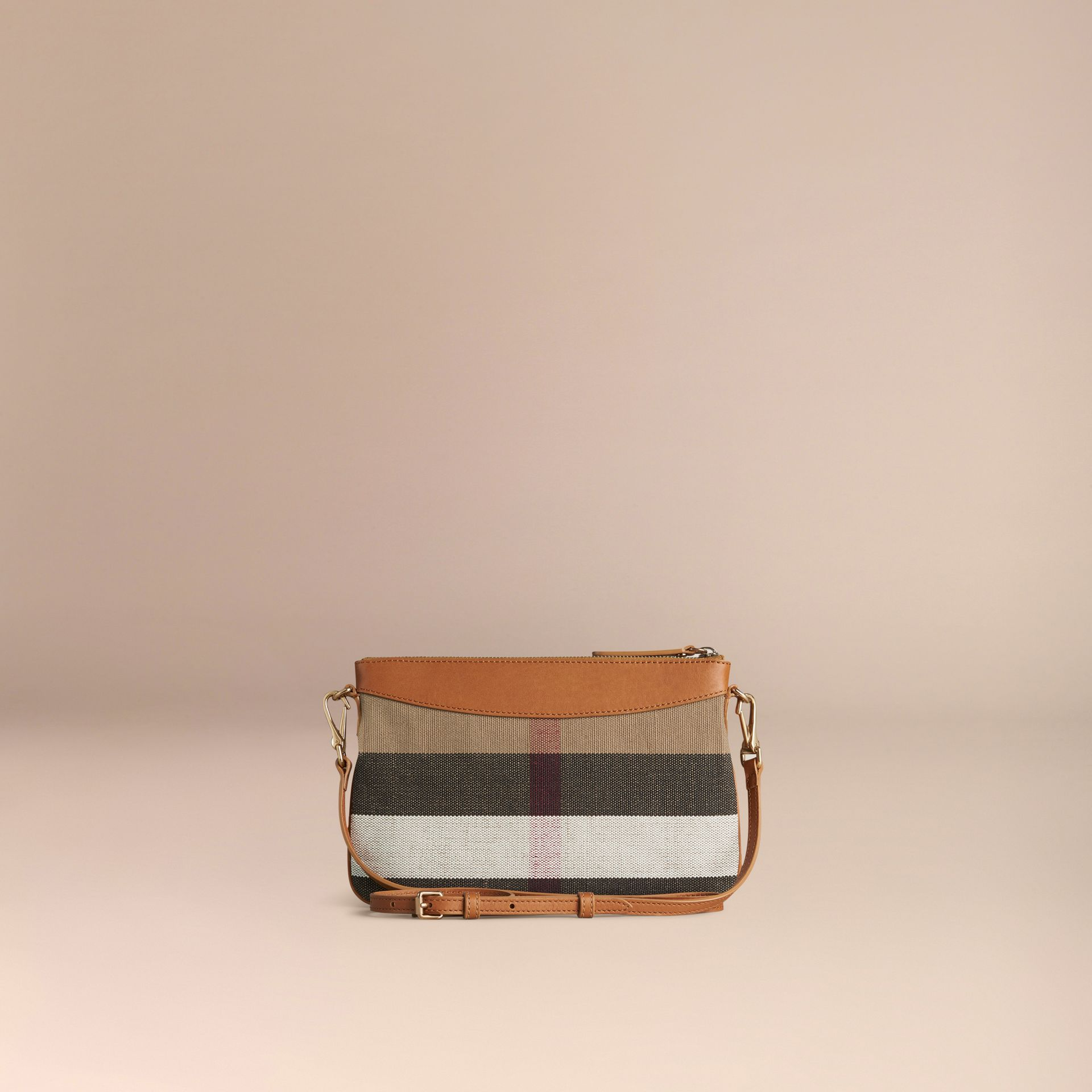 Saddle brown Canvas Check and Leather Clutch Bag Saddle Brown - gallery image 4