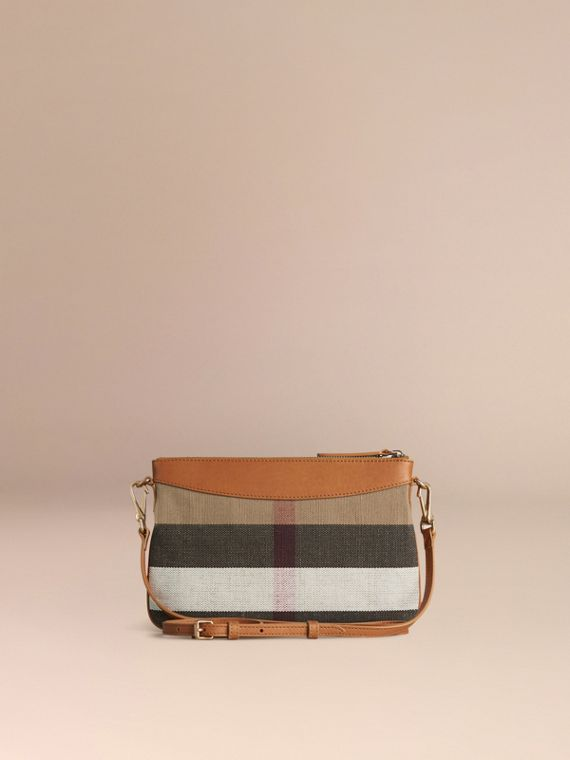 Saddle brown Canvas Check and Leather Clutch Bag Saddle Brown - cell image 3