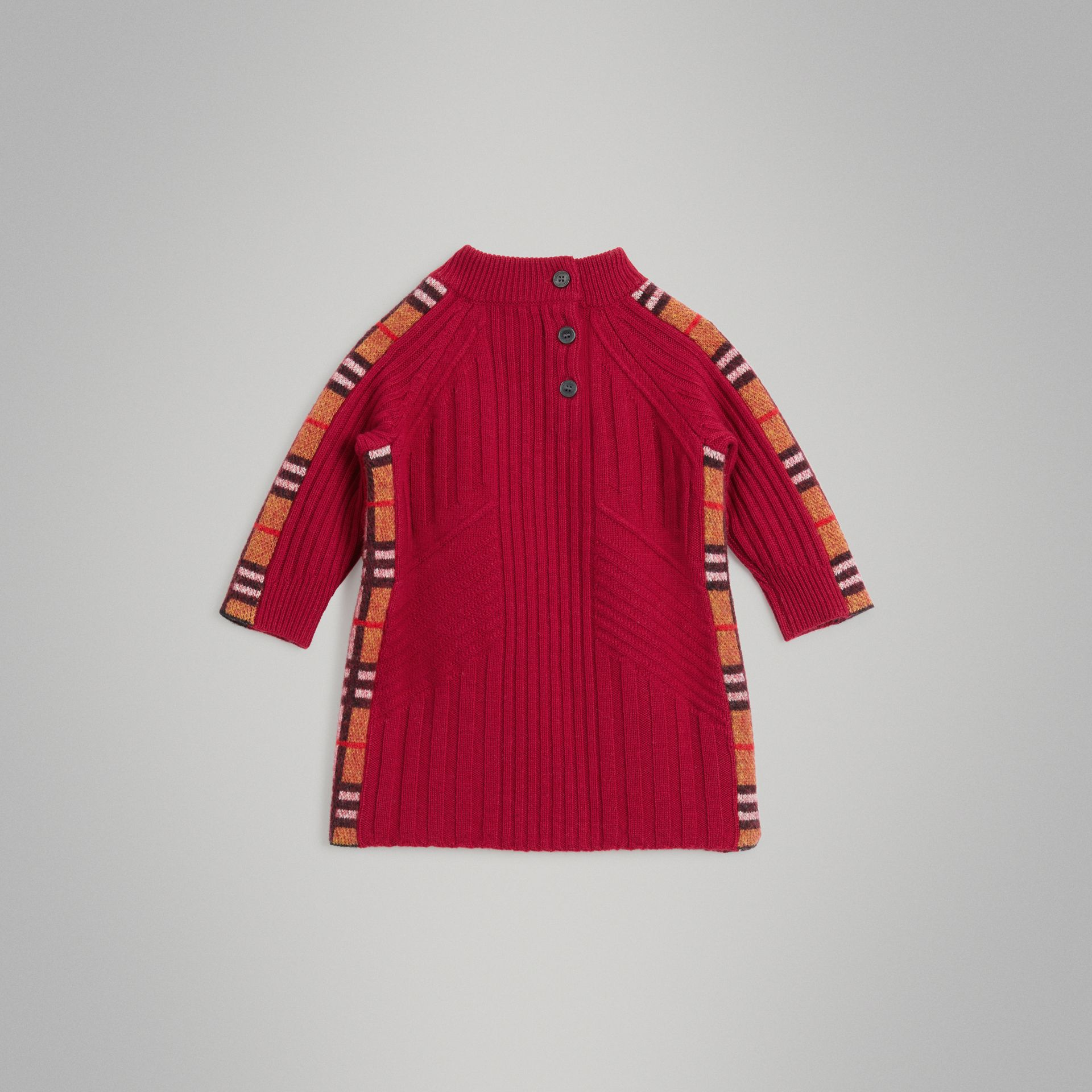 Check Detail Wool Cashmere Dress in Burgundy Red - Children | Burberry - gallery image 3