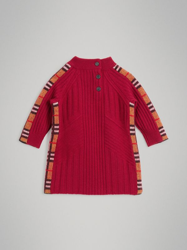Check Detail Wool Cashmere Dress in Burgundy Red - Children | Burberry Canada - cell image 3