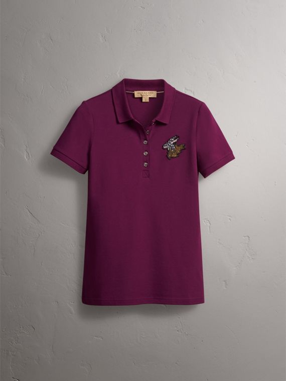 Beasts Motif Stretch Cotton Piqué Polo Shirt in Magenta Pink - Women | Burberry - cell image 3