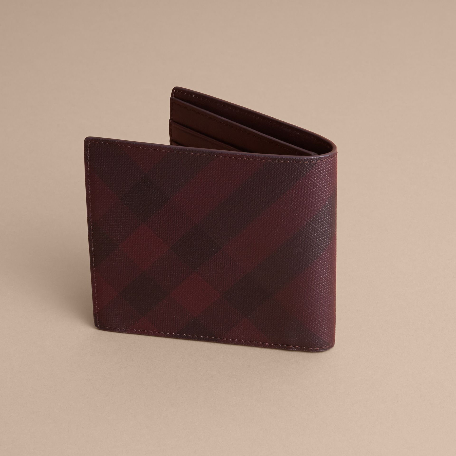 London Check Folding Wallet in Deep Claret - Men | Burberry Singapore - gallery image 4