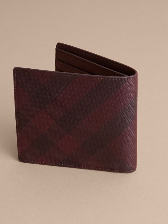 London Check Folding Wallet in Deep Claret - Men | Burberry Australia - cell image 3