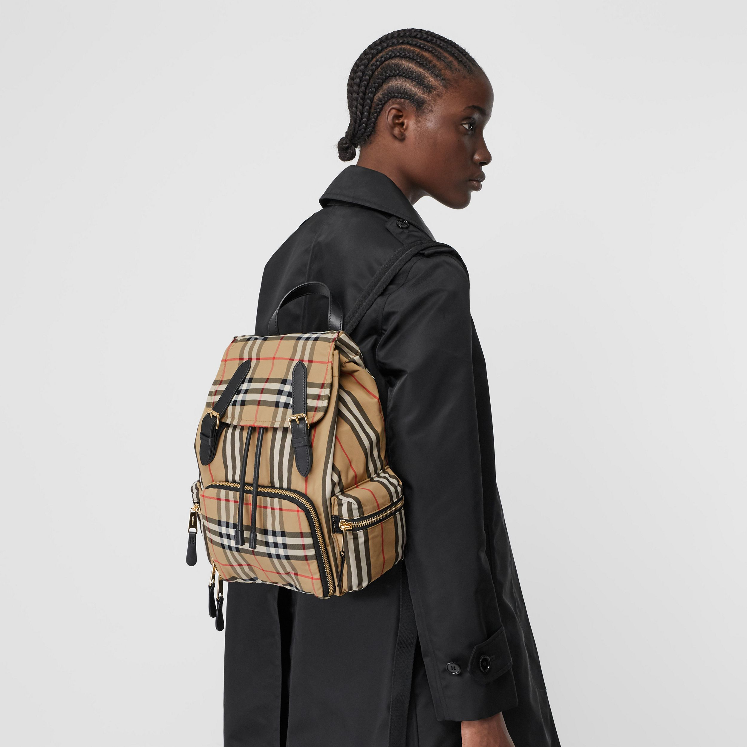 The Medium Rucksack in Vintage Check ECONYL® in Archive Beige - Women | Burberry - 3