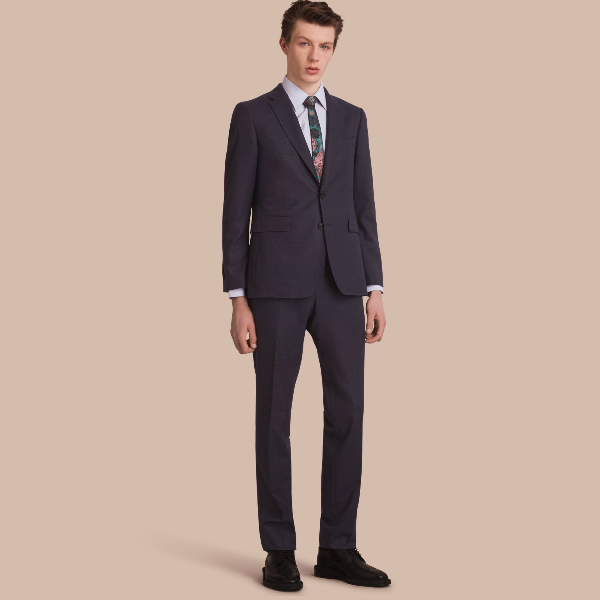 Soho Fit Wool Flannel Suit in Navy Melange - Men | Burberry - gallery image 1