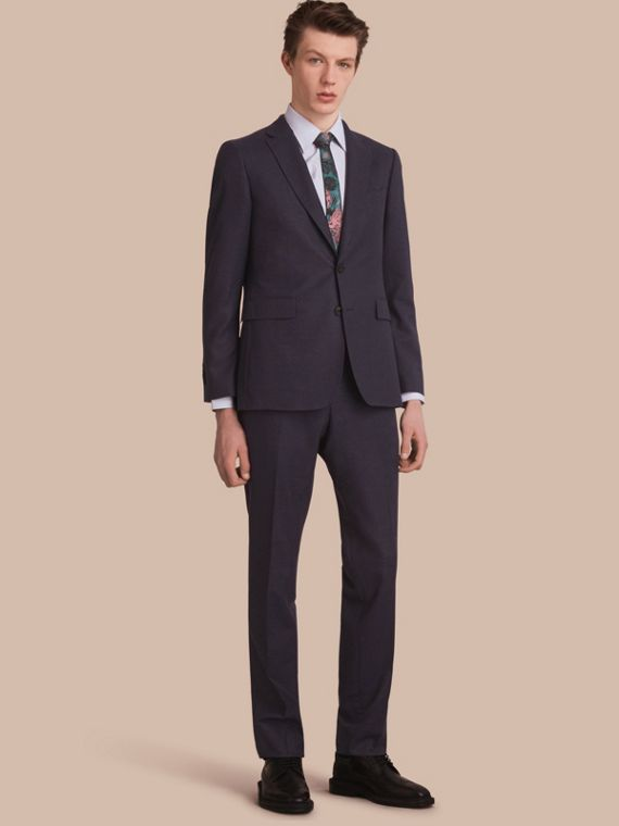 Slim Fit Wool Flannel Suit in Navy Melange - Men | Burberry