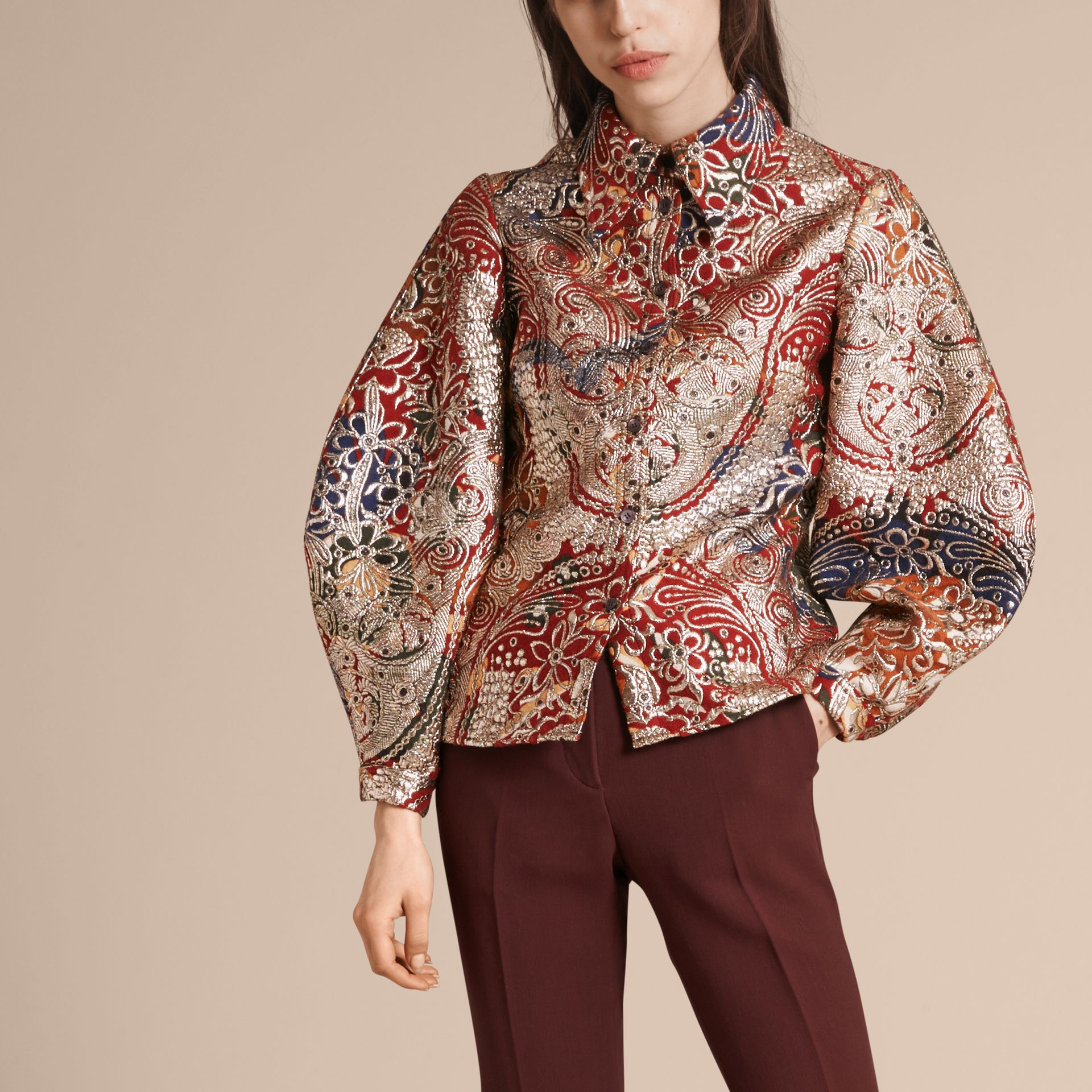 Russet brown Metallic Floral Jacquard Sculptured Sleeve Shirt - gallery image 5