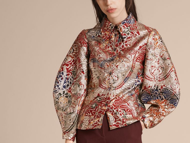 Russet brown Metallic Floral Jacquard Sculptured Sleeve Shirt - cell image 4