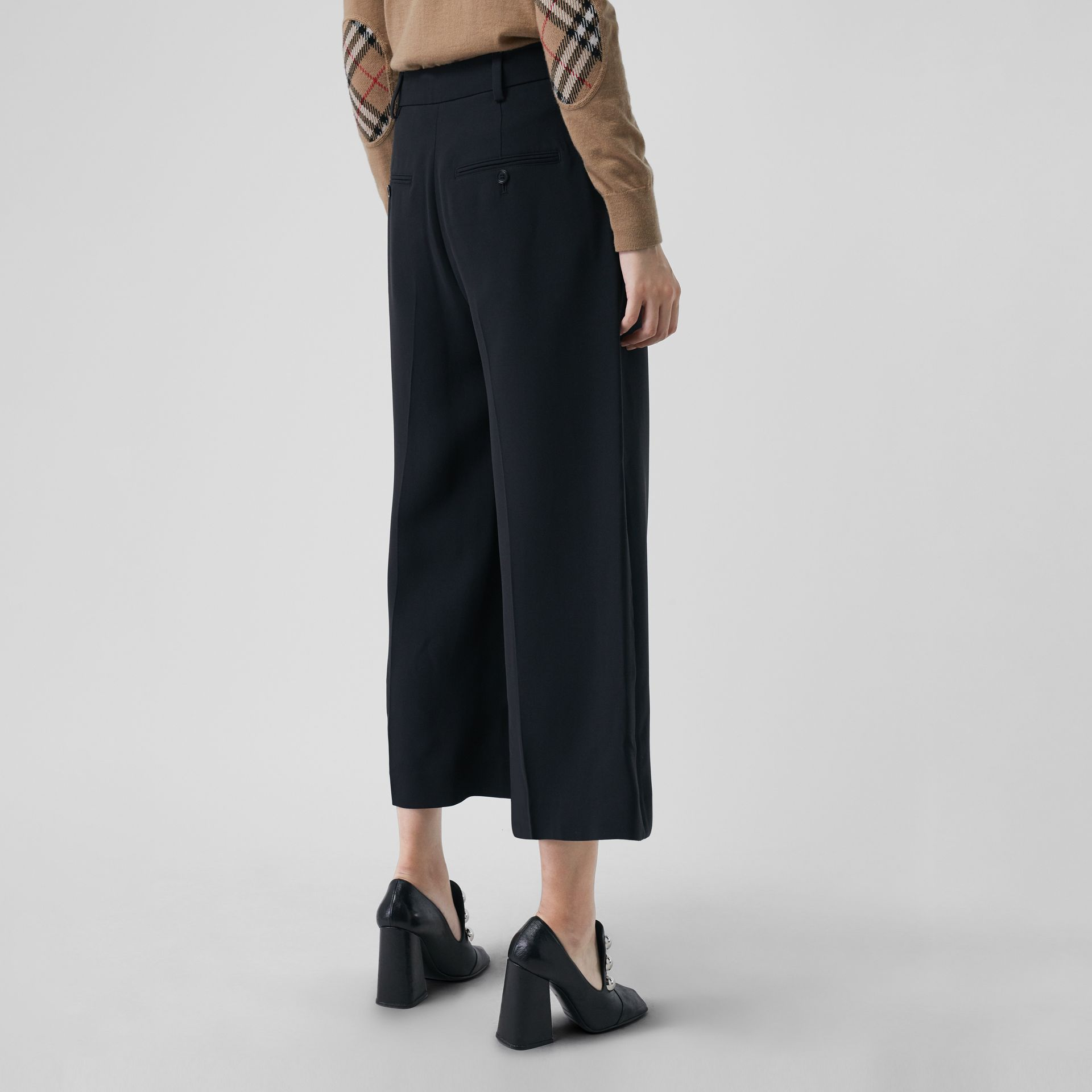 Silk Wool Tailored Culottes in Black - Women | Burberry - gallery image 2