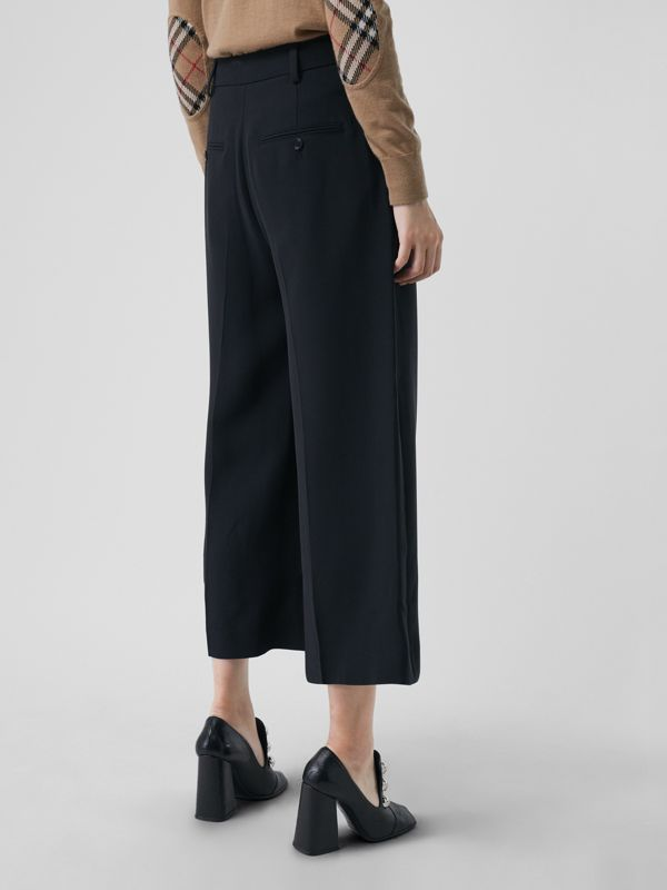 Silk Wool Tailored Culottes in Black - Women | Burberry - cell image 2