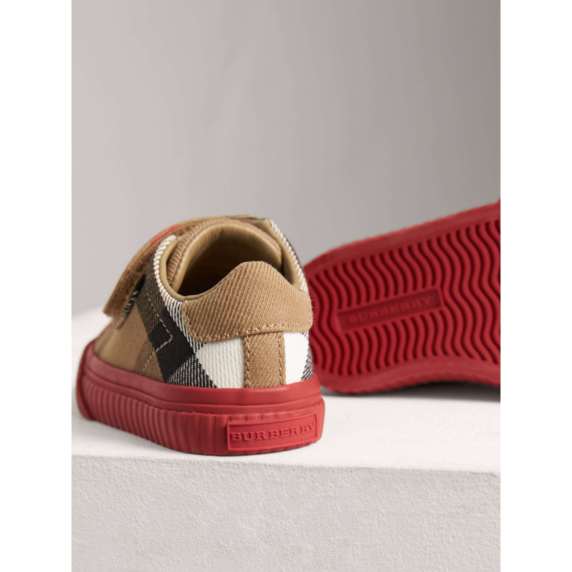House Check and Leather Sneakers in Classic/parade Red | Burberry United Kingdom - gallery image 2