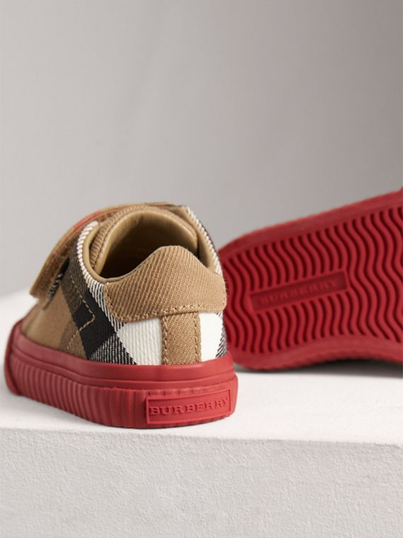 Sneakers en coton House check et cuir (Classique/rouge Parade) | Burberry - cell image 2