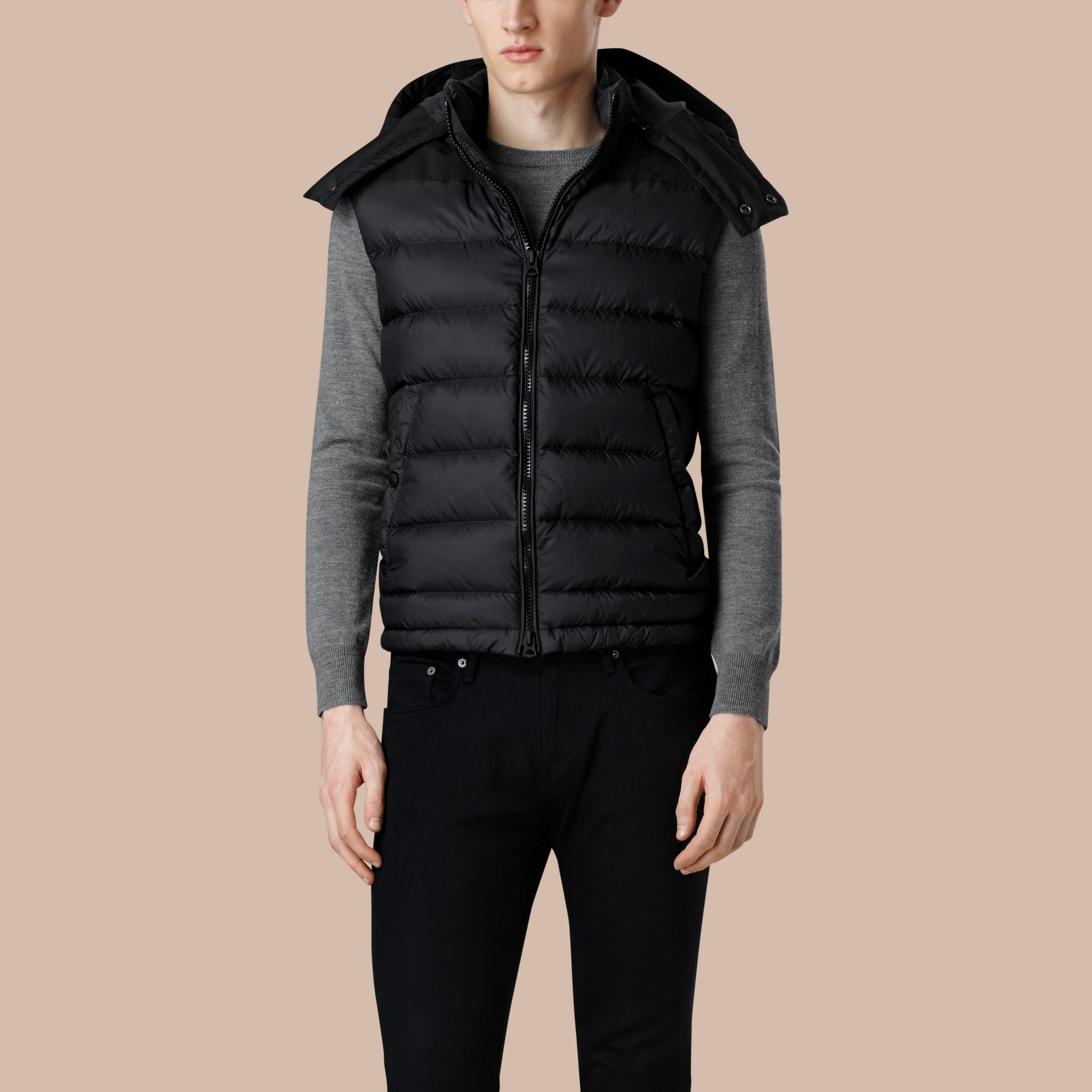 Black Down-filled Technical Gilet with Detachable Hood Black - gallery image 3