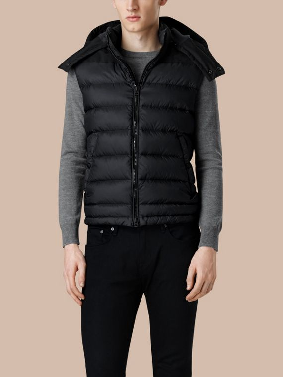 Black Down-filled Technical Gilet with Detachable Hood Black - cell image 2