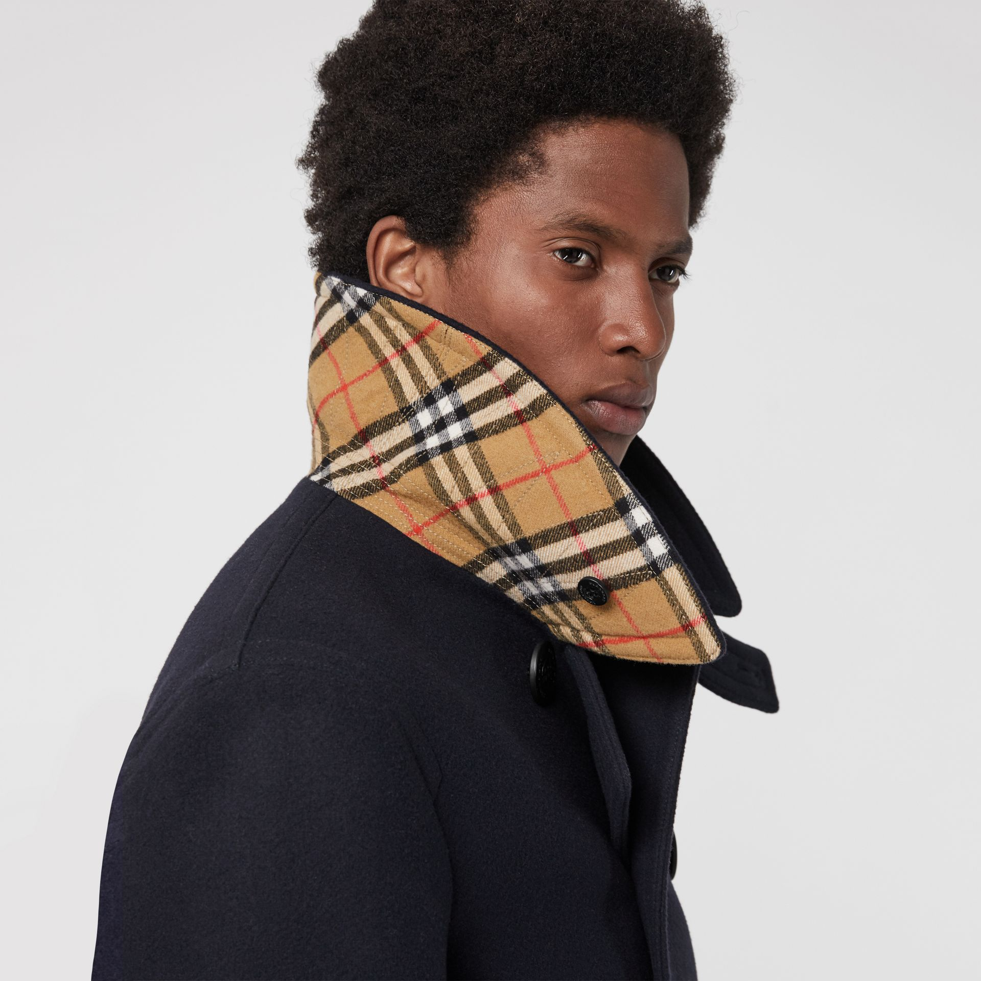 Wool Blend Pea Coat in Navy - Men | Burberry Canada - gallery image 1