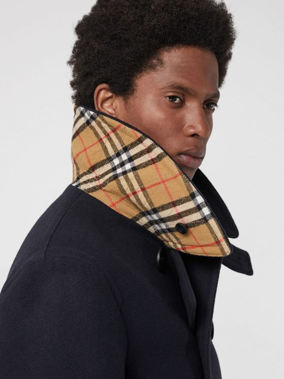 Wool Blend Pea Coat in Navy - Men | Burberry Canada - cell image 1