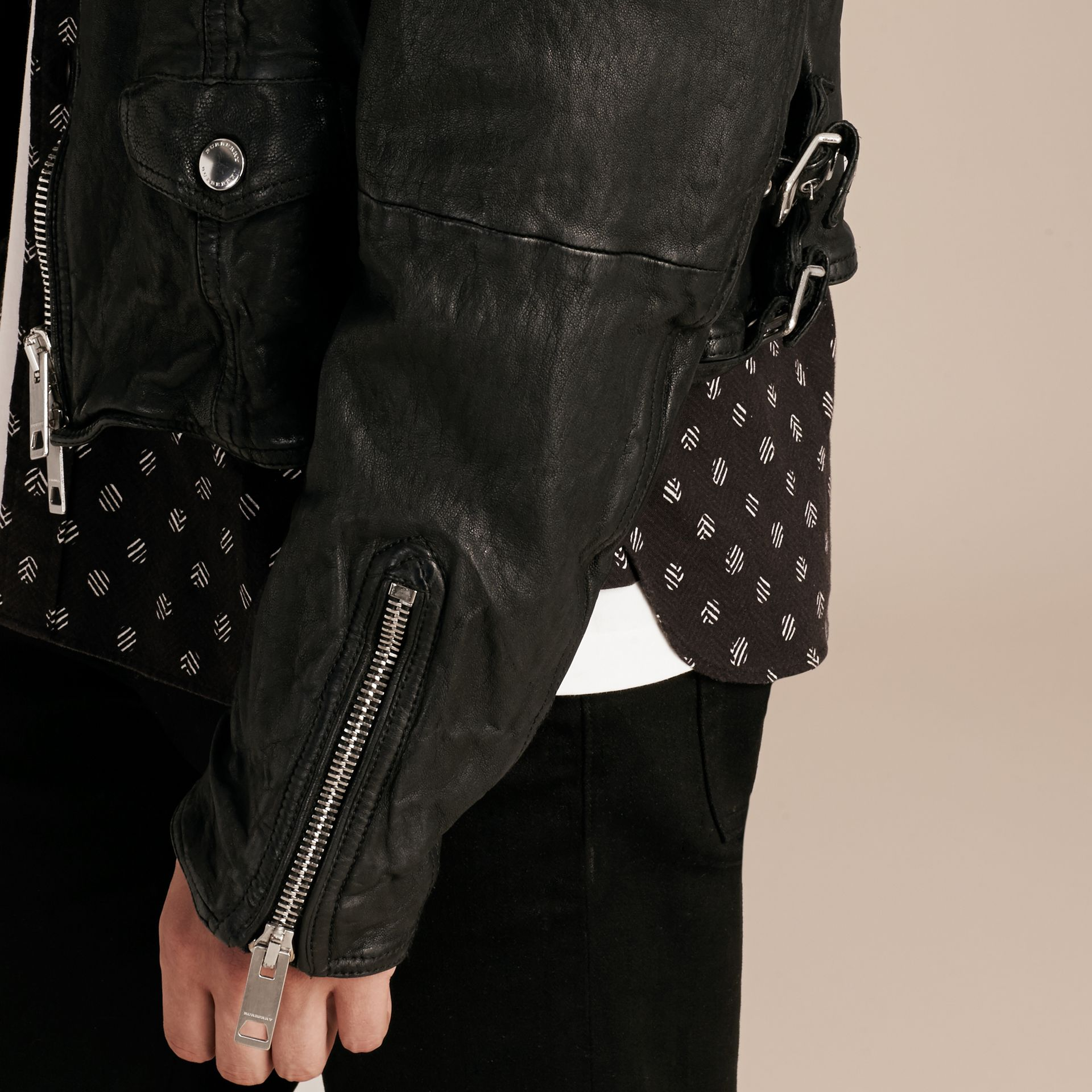 Black Washed Lambskin Biker Jacket - gallery image 6