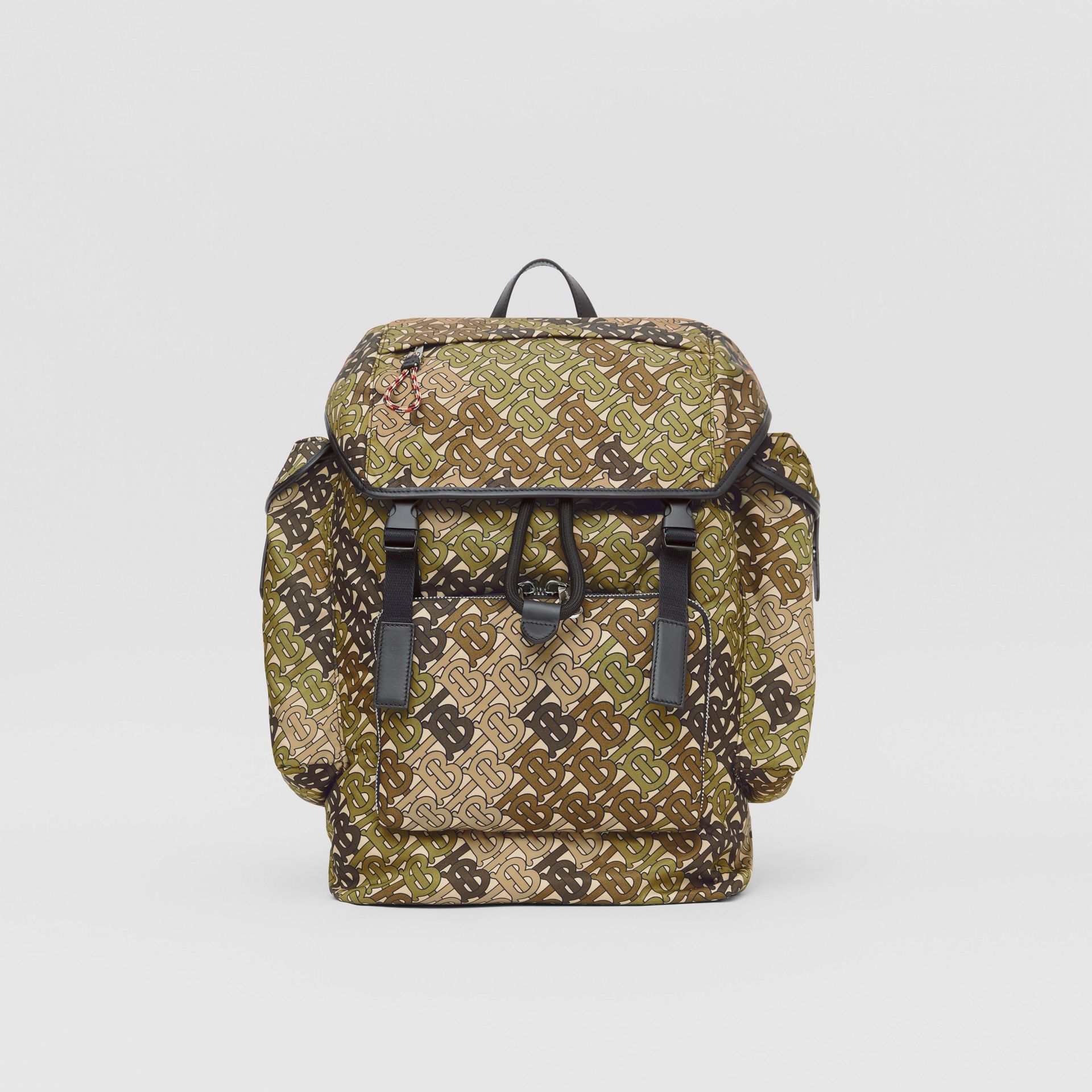 Medium Monogram Print Nylon Backpack in Khaki Green - Men | Burberry Canada - gallery image 0