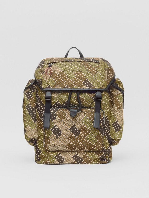 Medium Monogram Print Nylon Backpack in Khaki Green